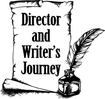 pen and scroll icon linking to the director and writer's journey