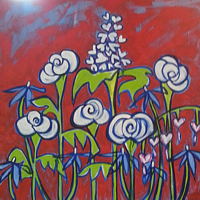 oil painting by Tennile Rose Will of stylized white flowers on red background